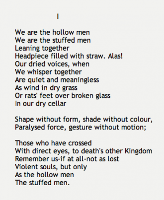 a comprehensive analysis of the hollow men a poem by t s eliot Upon first reading of ts eliot's collection of  band 6 mega ts eliot essay  two poems, the hollow men and the journey of magi,.