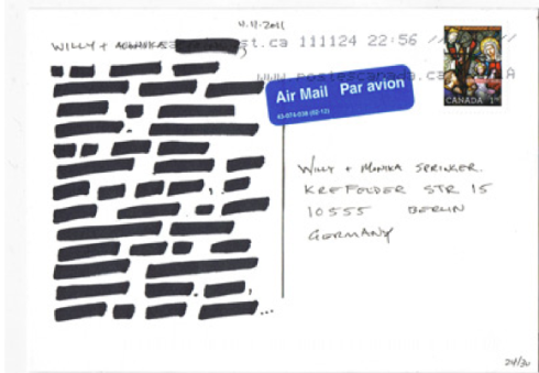 REDACTED POSTCARD